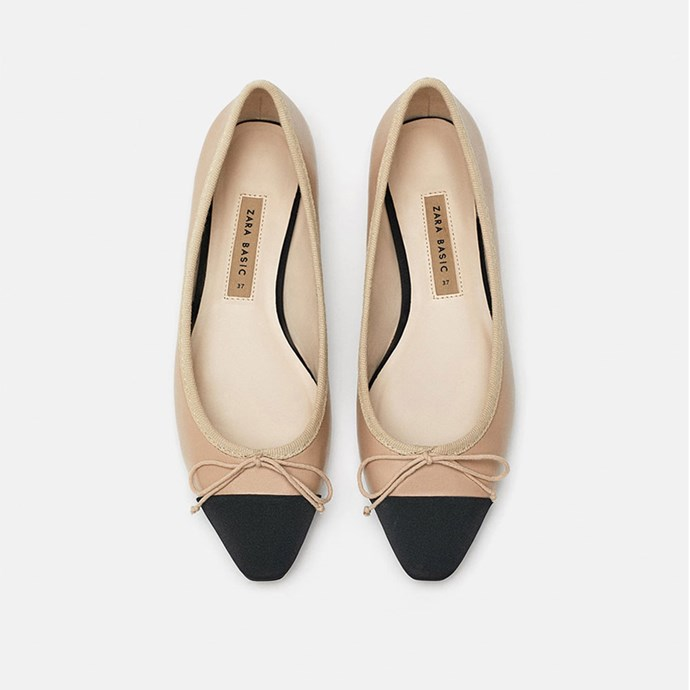 "Two-Tone Flat Shoes, $45.95 at [ZARA](https://www.zara.com/au/en/two-tone-flat-shoes-p16520301.html?v1=7213516&v2=1055020|target=""_blank""
