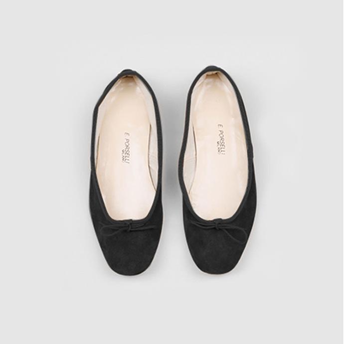 "Porselli Black Suede Ballet Flat, $275 at [My Chameleon](https://www.mychameleon.com.au/designer/porselli/ballet-flat-black-suede-porselli target=""_blank"" rel=""nofollow"")"