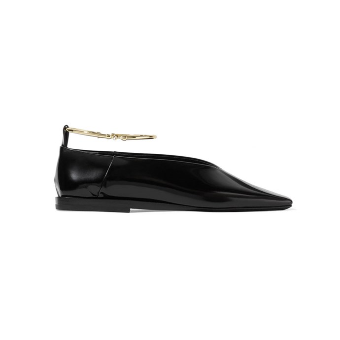 "Jil Sander Embellished glossed-leather ballet flats, $725 at [Net-A-Porter](https://www.net-a-porter.com/au/en/product/1042318/Jil_Sander/embellished-glossed-leather-ballet-flats|target=""_blank""