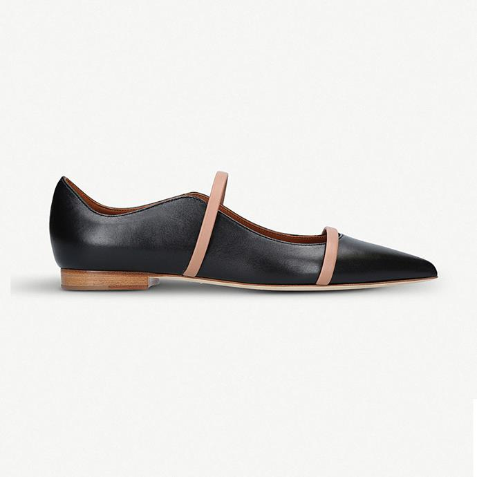 "Malone Souliers Maureen pointed leather flats, $680 at [Selfridges](http://www.selfridges.com/AU/en/cat/malone-souliers-maureen-pointed-leather-flats_783-10004-1852400109/?previewAttribute=Black|target=""_blank""