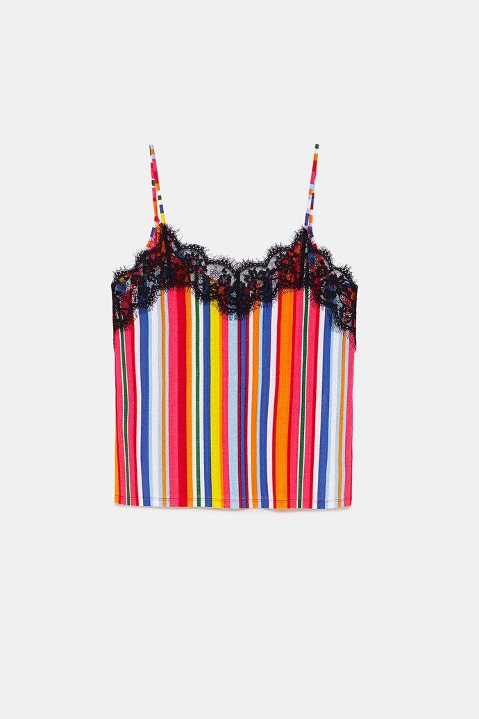 "***Lingerie dressing***<br><br> The stripes on this cami by ZARA give it a fun edge.<br><br> Camisole, $25.95 at [ZARA](https://www.zara.com/au/en/strappy-camisole-top-p01131390.html?v1=6596599&v2=1055442|target=""_blank""