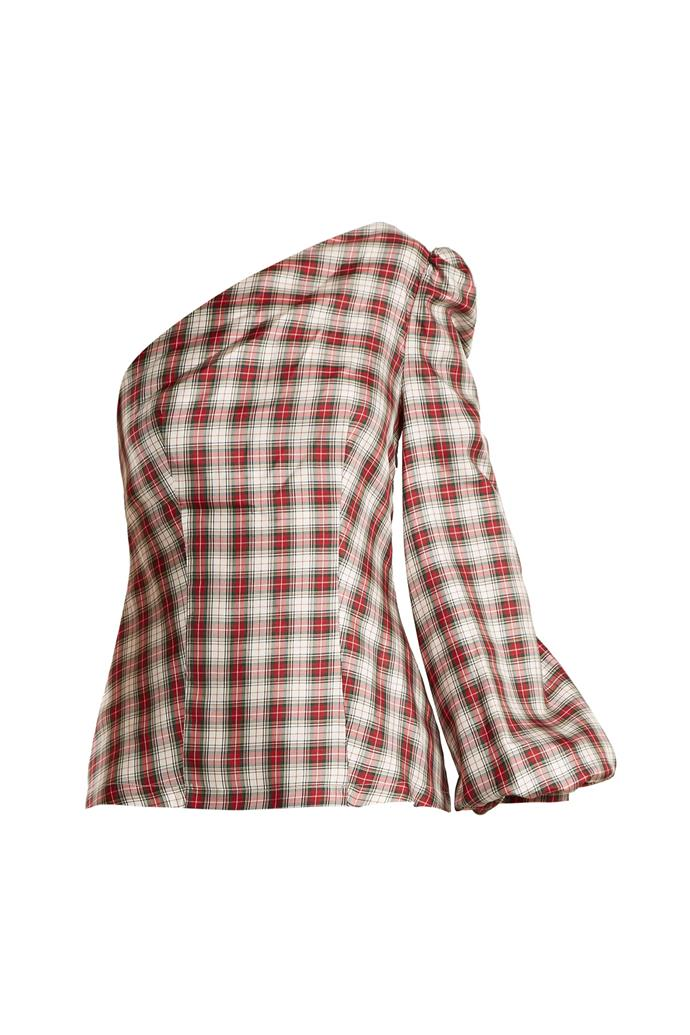 """***One shoulder***<bR><br> This Racil blouse combines two trends (one shoulder, and prints) into one. <br><br> Blouse by Racil, $210 at [MATCHESFASHION.COM](https://www.matchesfashion.com/products/Racil-Dorset-checked-one-shoulder-silk-twill-top--1165177 target=""""_blank"""" rel=""""nofollow"""")."""