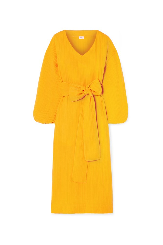 "***Mango yellow***<br><br> Although you can infuse the colour in small doses, we recommend going big. Case in point: this Rhode Resort dress which features on-trend [puff sleeves](https://www.elle.com.au/fashion/puff-sleeve-18108|target=""_blank""), soft cotton-gauze, and the exact yellow shade—all wrapped up in a bow. <br><br> Dress by Rhode Resort, $387 at [Net-a-Porter](https://www.net-a-porter.com/au/en/product/1057990/rhode_resort/delilah-crinkled-cotton-gauze-midi-dress