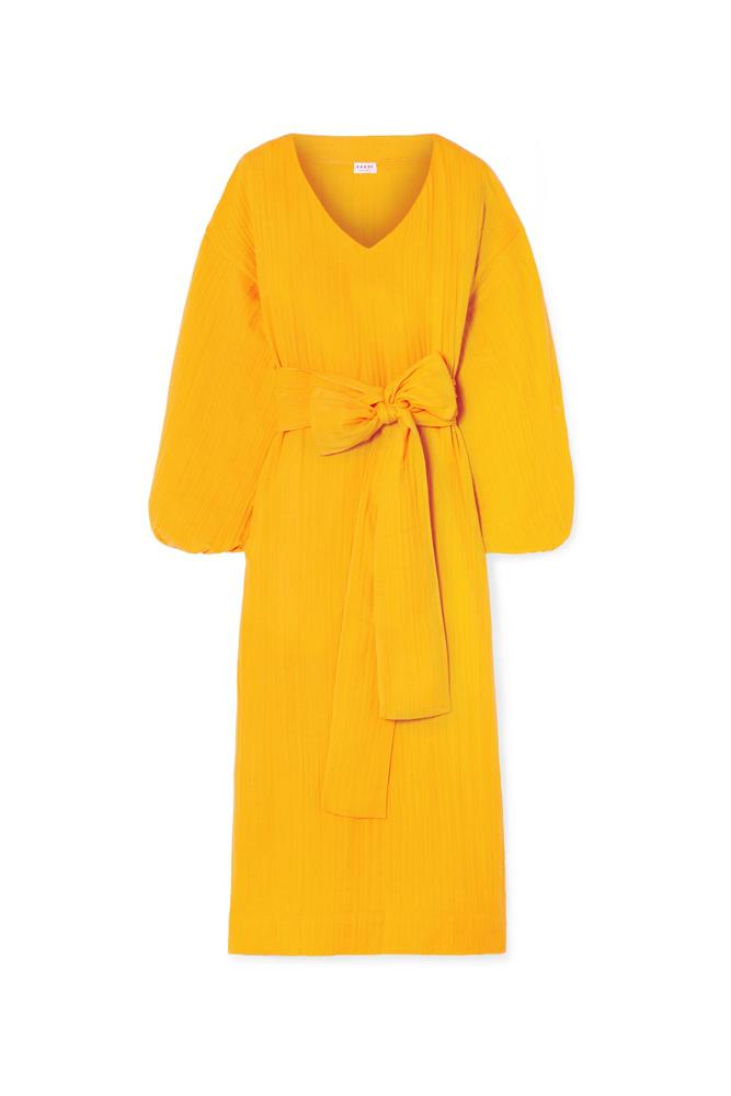 """***Mango yellow***<br><br> Although you can infuse the colour in small doses, we recommend going big. Case in point: this Rhode Resort dress which features on-trend [puff sleeves](https://www.elle.com.au/fashion/puff-sleeve-18108 target=""""_blank""""), soft cotton-gauze, and the exact yellow shade—all wrapped up in a bow. <br><br> Dress by Rhode Resort, $387 at [Net-a-Porter](https://www.net-a-porter.com/au/en/product/1057990/rhode_resort/delilah-crinkled-cotton-gauze-midi-dress target=""""_blank"""" rel=""""nofollow"""")."""