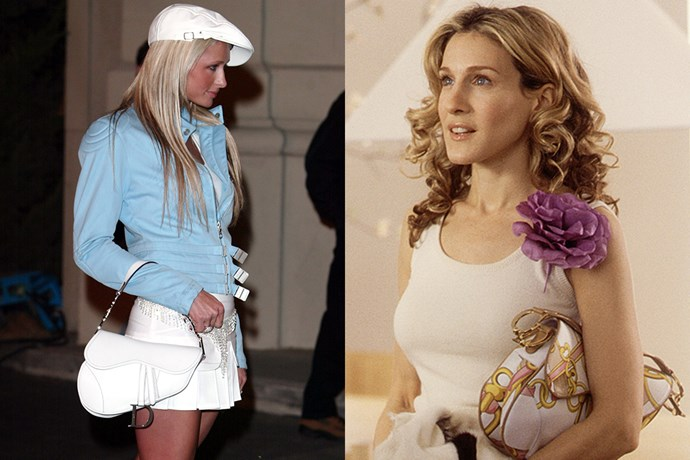 "***The Dior Saddle Bag: Then*** <br><br> As one of the most iconic handbags of the 2000s, Dior's Saddle Bag proved to be one of creative director John Galliano's greatest design successes. [Paris Hilton](https://www.elle.com.au/fashion/paris-hilton-fashion-2000-17652|target=""_blank""), [Mischa Barton](https://www.harpersbazaar.com.au/fashion/the-oc-marissa-fake-designer-wardrobe-17150