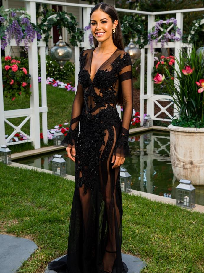 "***Tenille***, 25, Flight Attendant, QLD.<br><br> Anyone brave enough to both go on *The Bachelor* and wear a naked illusion dress while doing it has got game. Also we both have the same idea of the ""perfect date,"" which is ""a man giving me his undivided attention for the day doing something fun and then a nice romantic dinner over a wine or 15."""