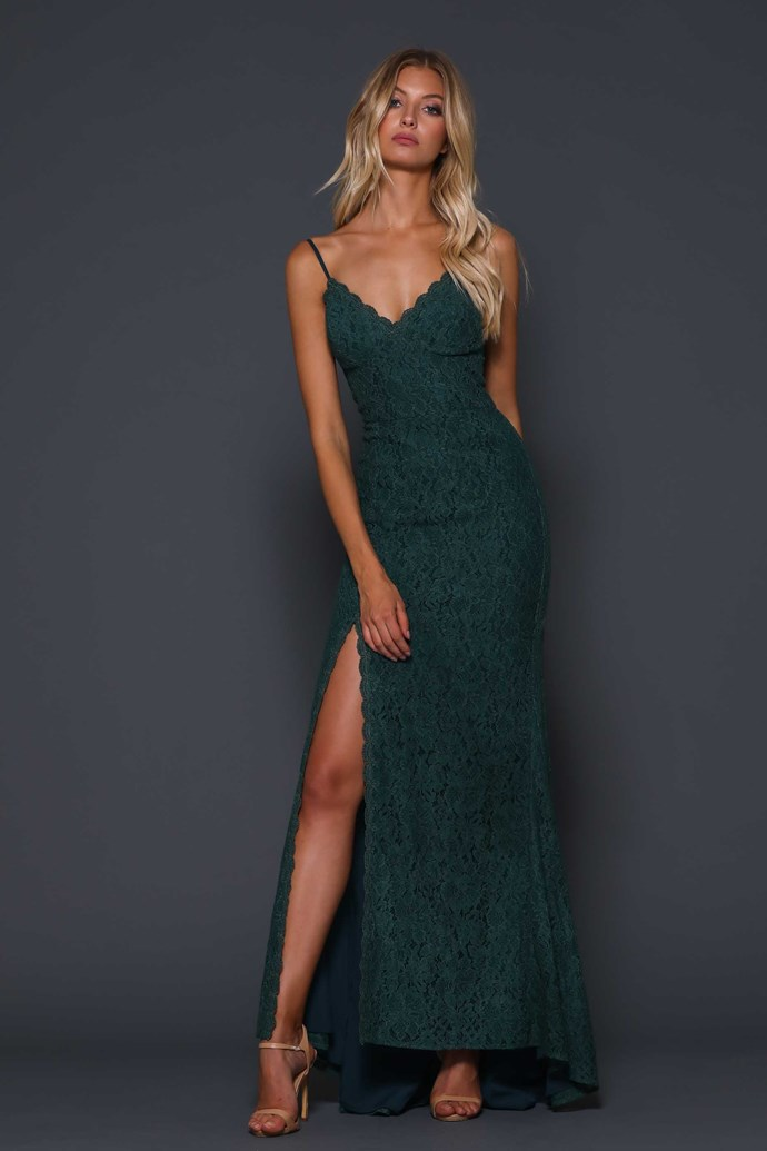 "'Giovanna Forest' gown, $339, [Elle Zeitoune](https://www.ellezeitoune.com.au/item/767-Giovanna-Forest/ target=""_blank"" rel=""nofollow"")."