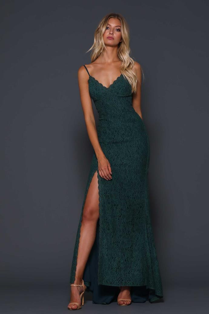 "'Giovanna Forest' gown, $339, [Elle Zeitoune](https://www.ellezeitoune.com.au/item/767-Giovanna-Forest/|target=""_blank""|rel=""nofollow"")."