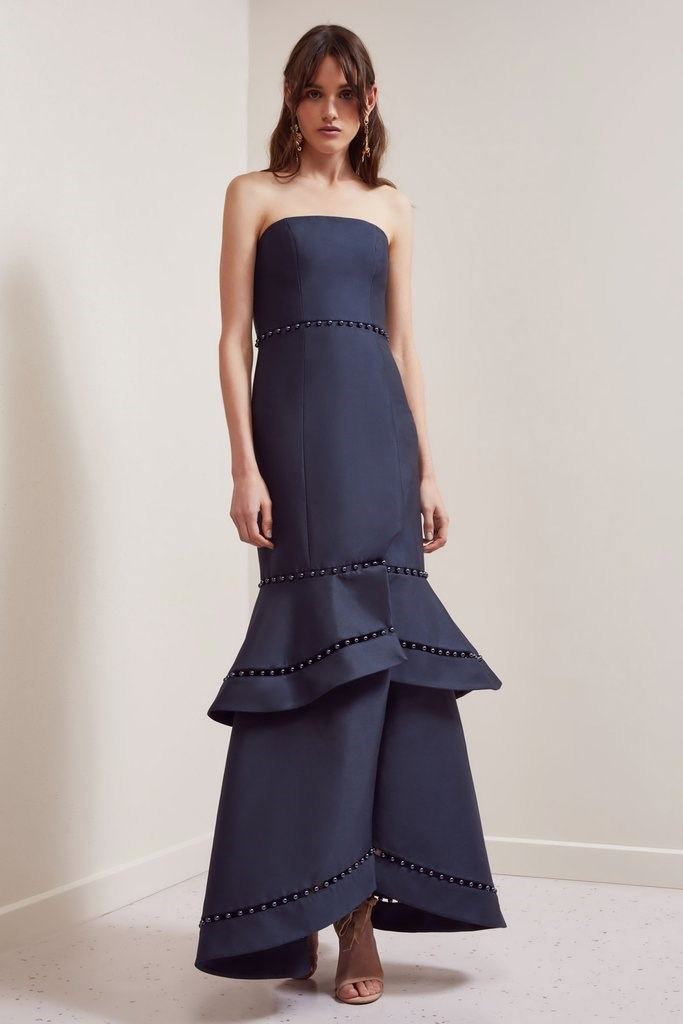 "'Sweet Life' gown by Keepsake, $329.95 at [BNKR](https://fashionbunker.com/sweet-life-gown-navy|target=""_blank""