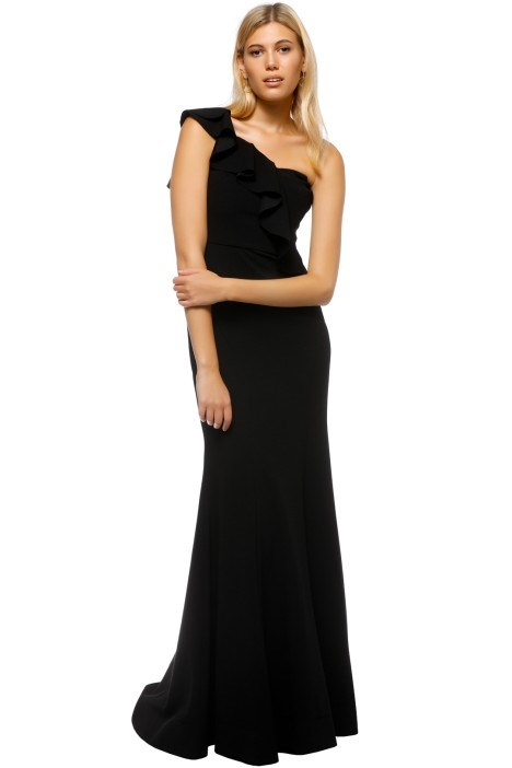 "'Gigi' gown by Rebecca Vallace, $269 hire via [Glam Corner](https://www.glamcorner.com.au/designers/rebecca-vallance/gigi-bustiere-gown-black|target=""_blank""
