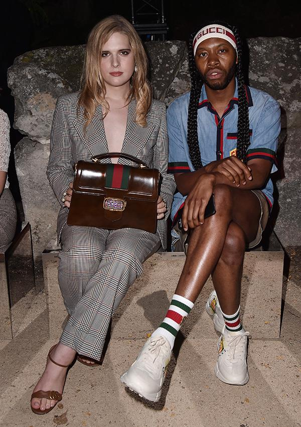***Gucci Striped Briefcase Bag: Now*** <br><br> With creative director Alessandro Michele's revival of Gucci, the briefcase bag has found its way back onto our wishlists—seen here on model and Gucci muse Hari Nef.