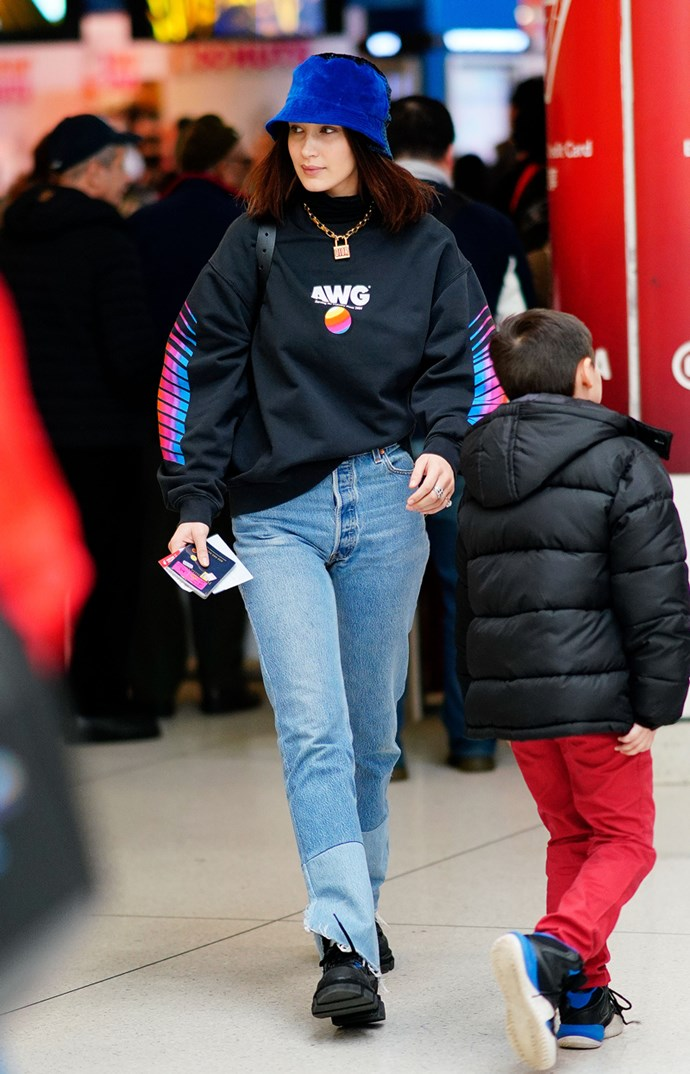 **2. Bucket Hats** <br><br> Bella Hadid in New York City
