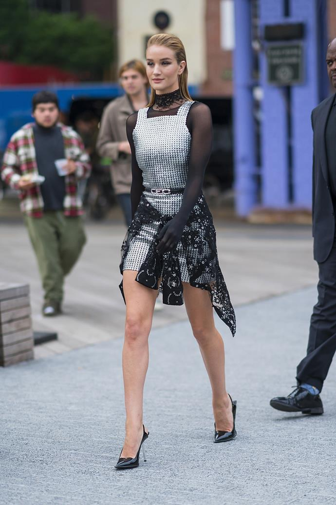 Wearing a metallic silver smock dress by Alexander Wang in New York on June 3, 2018