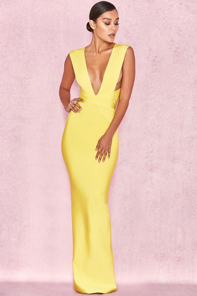 "Aleksandra wore the 'Ysabel' gown by [House of CB](https://www.houseofcb.com/ysabel-acid-yellow-bandage-maxi-dress-au.html|target=""_blank""|rel=""nofollow"")."