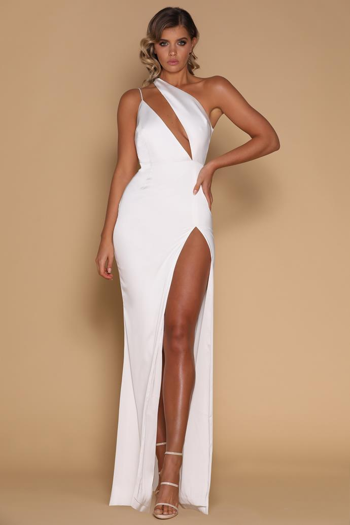 """Brittany wore the 'Cartia' dress by [Meshki](https://www.meshki.com.au/collections/prom-formal-dresses/products/cartia-maxi-dress-white