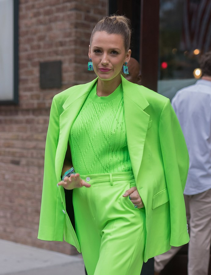 Blake Lively wearing Versace menswear in New York on August 17, 2018