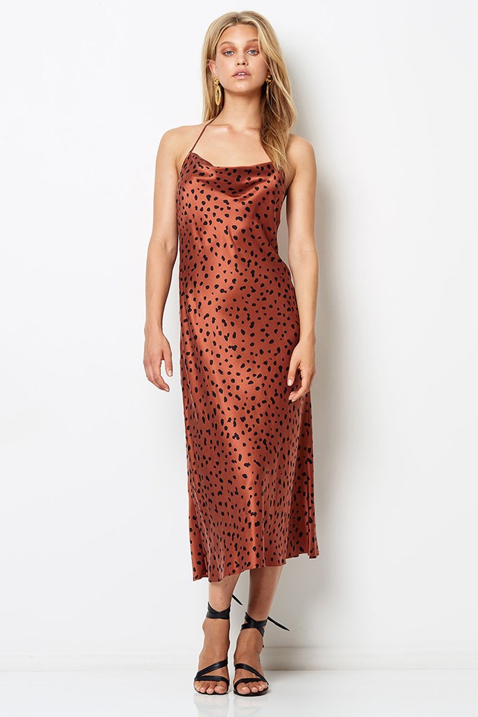 "Slip Dress, $400 at [Bec & Bridge](https://www.becandbridge.com/collections/dresses/products/wild-cat-halter-dress-animal-print|target=""_blank""