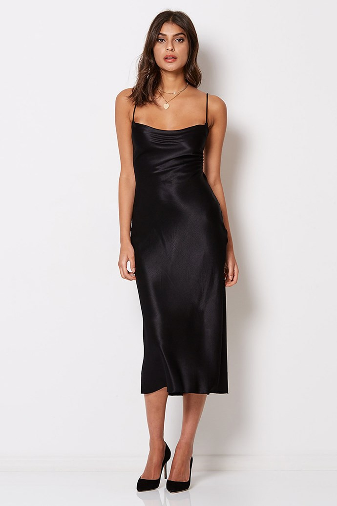 "Slip Dress, $240 at [Bec & Bridge](https://www.becandbridge.com/collections/dresses/products/kaia-cowl-dress-black?variant=8424456618039|target=""_blank""