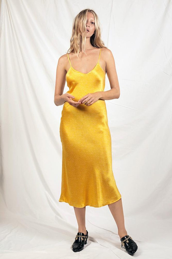 "Slip Dress, $260 at [Silk Laundry](https://silklaundry.com.au/products/90s-silk-slip-dress-dandelion-dot?variant=31574188942|target=""_blank""