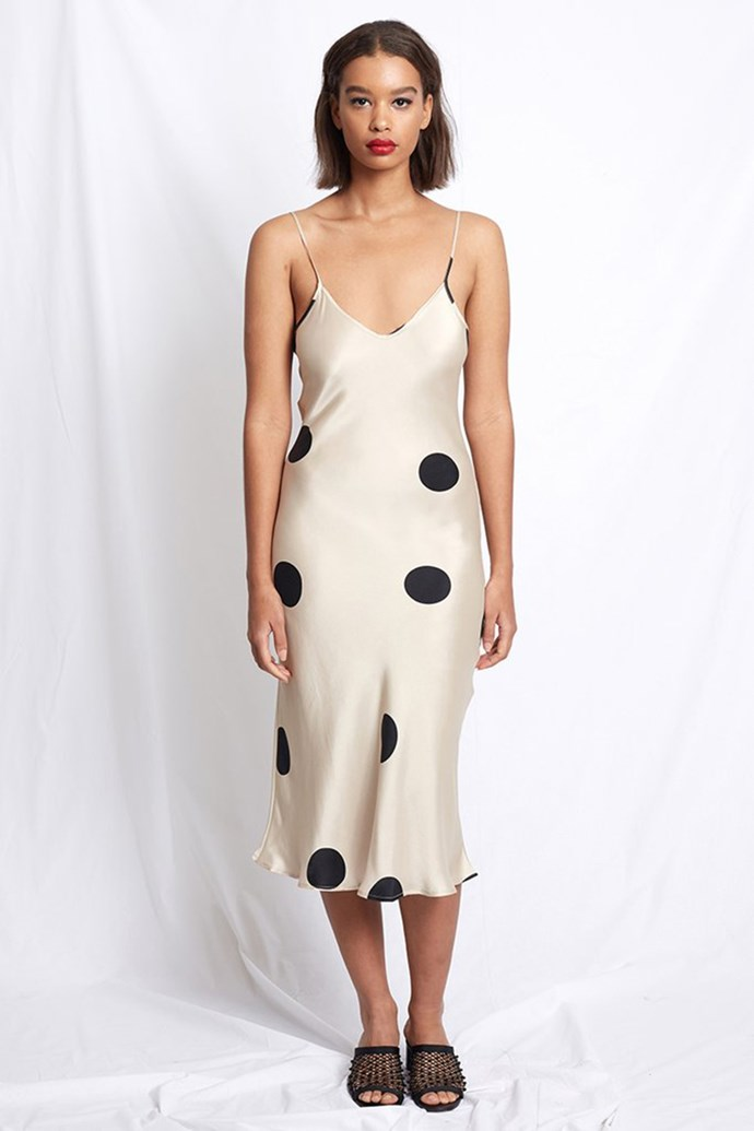 "Slip Dress, $260 at [Silk Laundry](https://silklaundry.com.au/collections/slip-dresses/products/90s-silk-slip-dress-blush-polka?variant=5676908871711|target=""_blank""