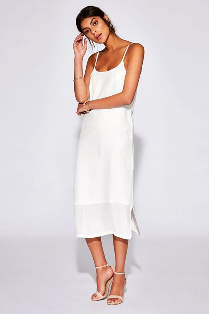 "Slip Dress, $290 at [Sir The Label](https://sirthelabel.com/collections/dress/products/solene-maxi-slip-dress?variant=1334154199054|target=""_blank""