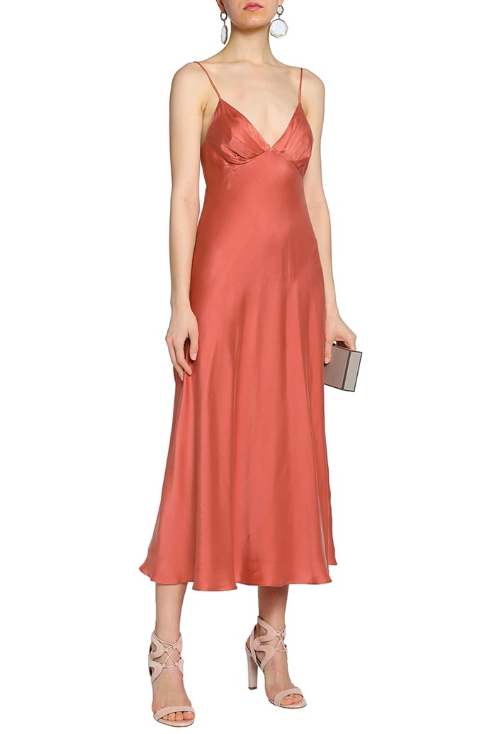 "Slip dress by Zimmermann, $225 at [The Outnet](https://www.theoutnet.com/en-au/shop/product/gowns_cod12789547614253902.html|target=""_blank""