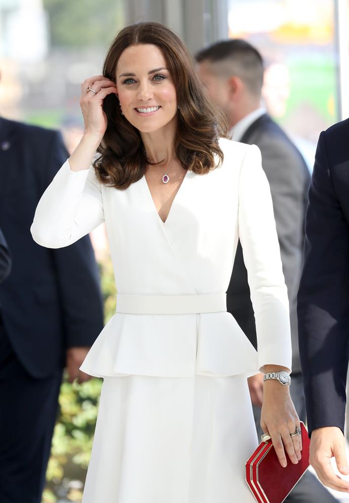 ***Thou beauty look must be long-lasting***<br><br> Even though we usually just see a snap or two, Kate is sometimes at these events for hours and hours at a time. This means that she has to look perfectly poised the entire time. Kate's beauty team has a whole host of tricks and tips up their sleeves for long-lasting wear, including wrapping up her up-dos in a very fine hairnet to keep them from unravelling, using a primer and setting spray for her makeup (as well as on-site blotting papers), and wearing long-lasting perfumes.