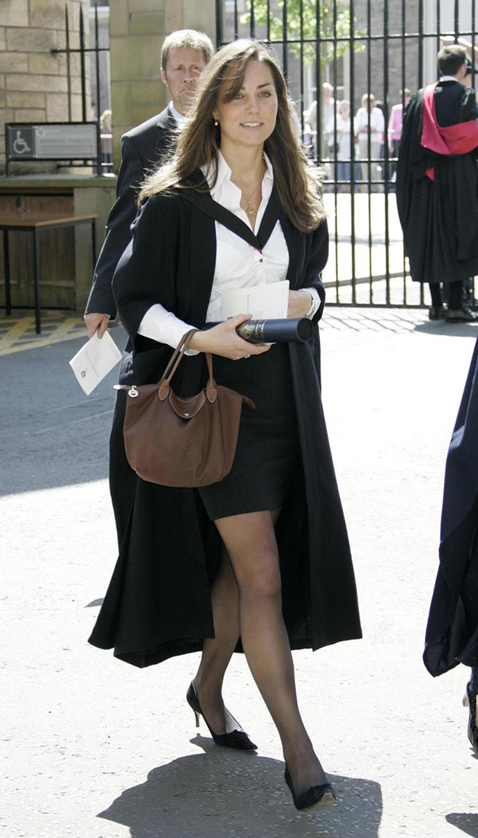 ***2005:*** At her graduation from the University of St. Andrews' in Scotland, where she first met William.