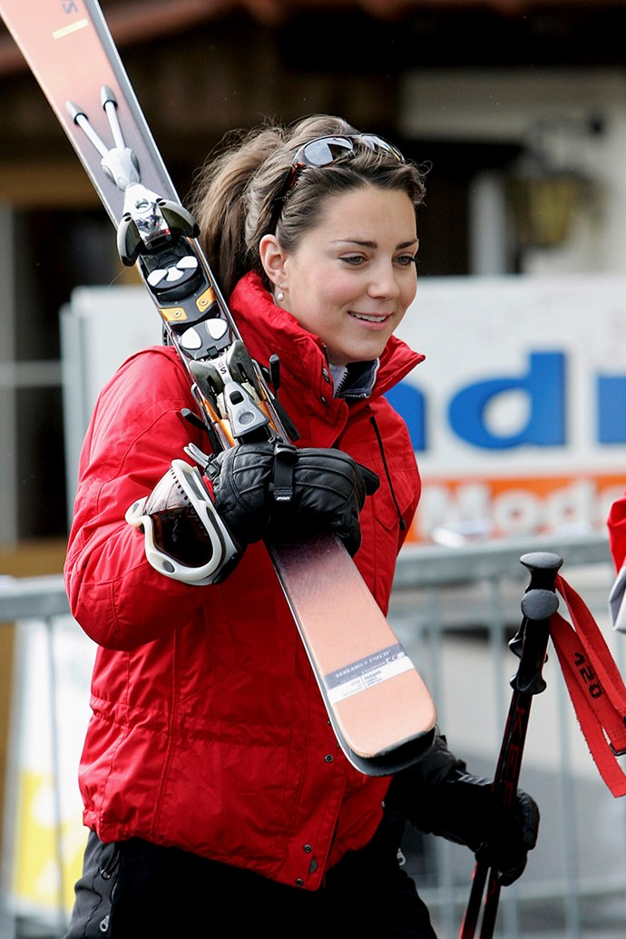 ***2005:*** On a skiing trip with then-boyfriend Prince William, as well as Prince Charles and Prince Harry in Switzerland.