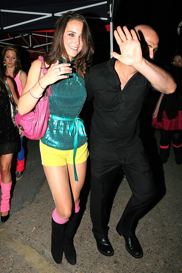 ***2008:*** Leaving a roller-skating fundraiser for charity Place2Be at Oxford Children's Hospital, and kind of resembling a royal Spice Girl.