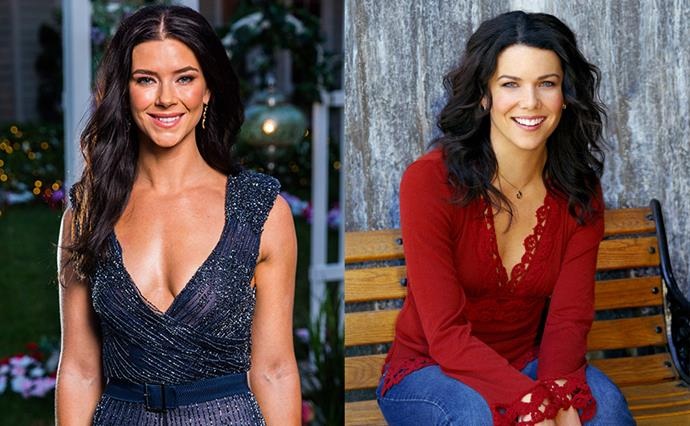 ***Brittany and Lorelai Gilmore***<br><br> The dark hair, the smile—we think frontrunner Brittany looks a lot like Lorelai Gilmore.