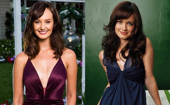 ***Emily and Rory Gilmore***<br><br> A matched set. With her side-swept fringe and blue eyes, we think Emily looks like Alexis Bledel—*Gilmore Girls* era.