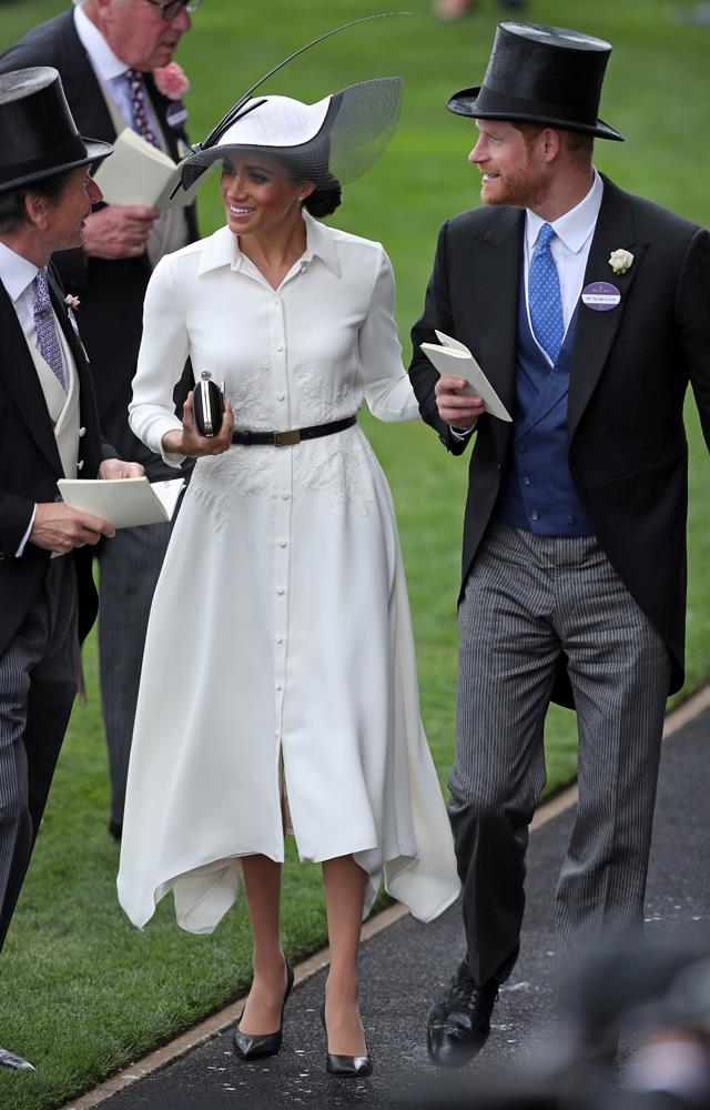 ***Royal Ascot 2018***<br><br> Dress by Givenchy: $3,097<br> Belt by Givenchy: $540<br> Shoes by Balenciaga: $1,247<br> Earrings by Birks: 2,355<br> Clutch by Givenchy: 2,425<br> Hat by Philip Treacy: 916<br> Total: **$10,580**