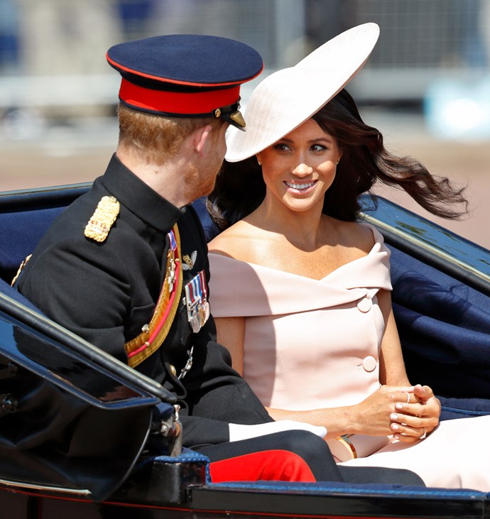 ***Trooping The Colour 2018***<br><br> Dress by Carolina Herrera: est. $8,000<br> Hat by Philip Treacy: $1,308<br> Earrings by Birks: $1,482<br> Clutch by Carolina Herrera: $1,300<br> Ring by Birks: $5,224<br> Total: **$17,314**