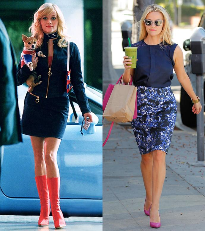 Hot pink heels are the perfect contrast to navy skirt suits.