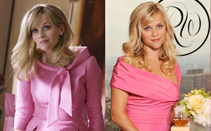 Reese donned the same hair, expression and a *very* similar dress to Elle for the launch of her perfume.