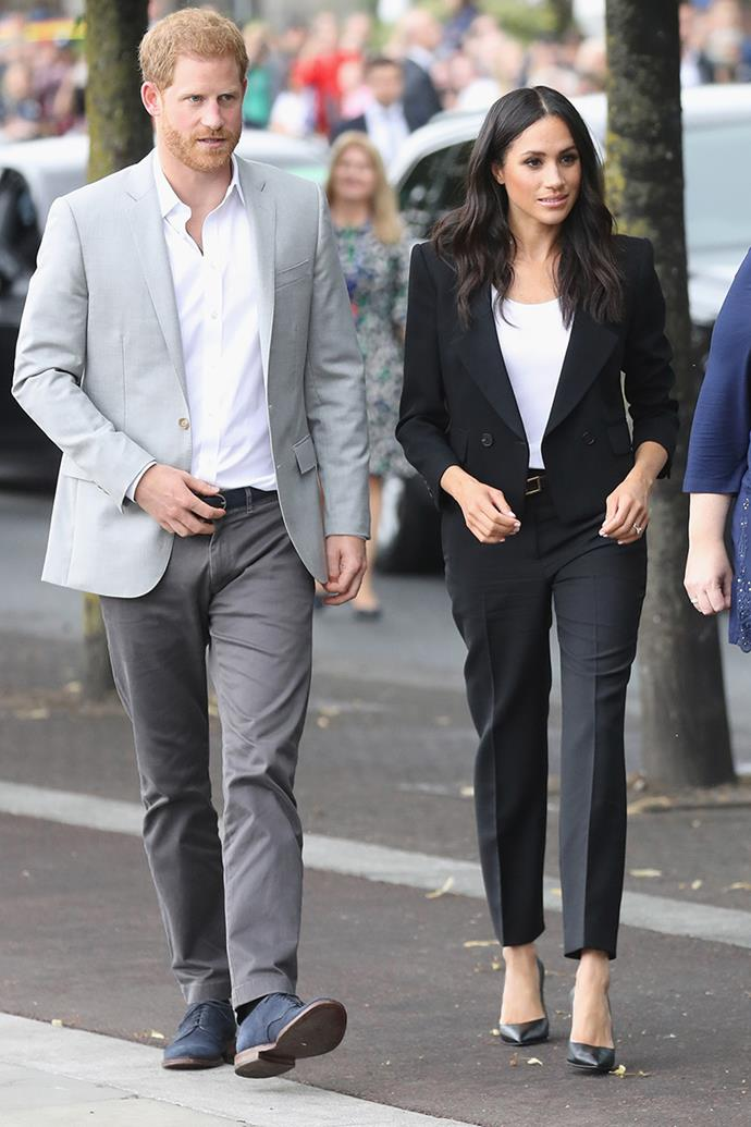 "***Suits should be worn sparingly*** <br><br> While this rule has relaxed in recent years—as can be seen by Kate Middleton's penchant for suits—royal women are often encouraged to wear skirts and dresses over a blazer and trousers.  <br><br> The Duchess of Sussex's [Givenchy suit](https://www.elle.com.au/fashion/meghan-markle-most-expensive-outfits-18331|target=""_blank""), while chic, is a departure from royal outfit expectations (whether official or unspoken)."