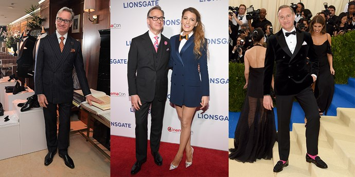 Paul Feig (from left) in his usual dapper garb, with Blake Lively in 2018 and at the 2017 Met Gala.