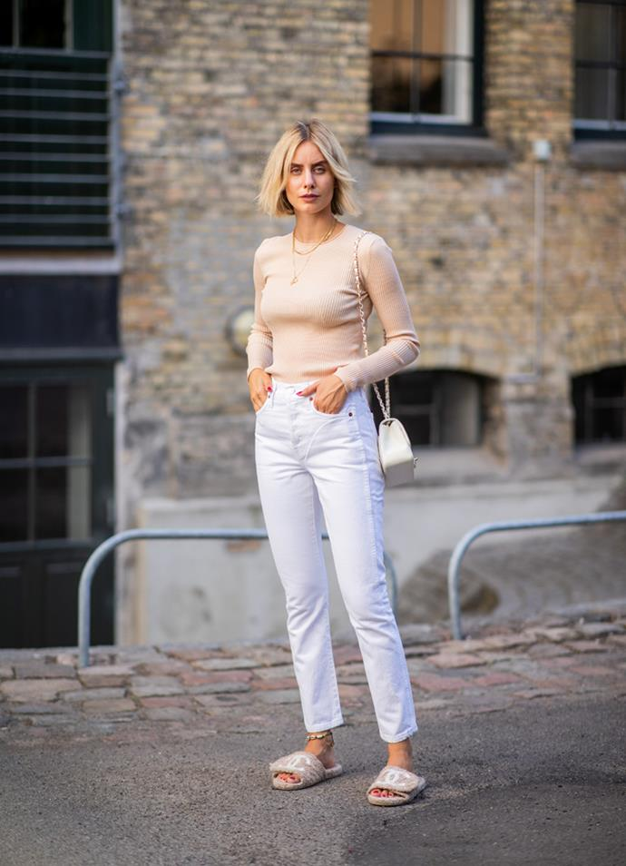 ***White denim***<br><br> Obvious pitfalls (food stains, dirty train seats, red wine exuberance) aside, white denim is tapping in for your blue jeans. Crisp and clean, the perfect white denim piece (the mum cut is still in, as well as a cropped flare) pairs with billowy blouses, rock-star tees and soft knits with aplomb.