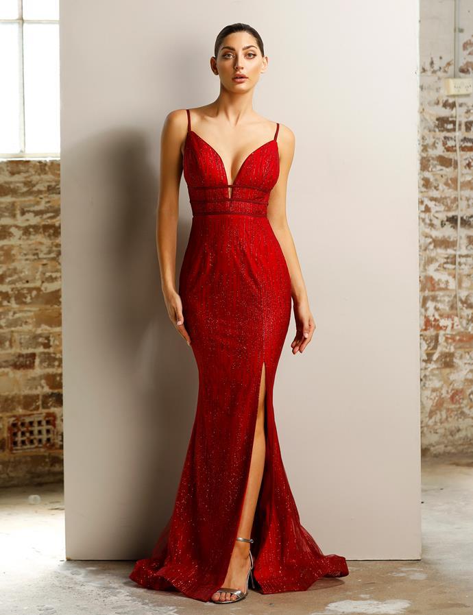 "Emily wore the 'Vixxen' gown by Jadore, $460 at [After Dark](https://www.afterdark.com.au/shop/black-tie-gowns/jx1124/|target=""_blank""|rel=""nofollow"")."