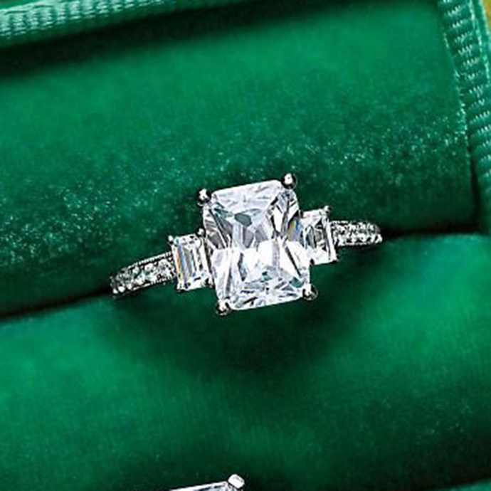 "**Taurus: Emerald** <br><br> Your birthstone is emerald, Taurus. So what ring style could be more tailored to your taste than one featuring an emerald cut diamond? <br><br> Image: [Pinterest](https://www.pinterest.com.au/pin/91972017363668040|target=""_blank""