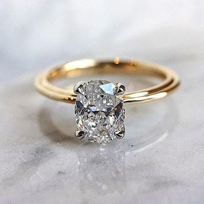 "**Gemini: Oval** <br><br> You're the trend-setter of your group, Gemini. Which means you're often spotted wearing the newest looks before they even become 'trends'. And one of the biggest [engagement ring trends](https://www.elle.com.au/wedding/engagement-ring-trends-2018-15566|target=""_blank"") of 2018 so far? Oval rings. <br><br> Image: [Pinterest](https://www.pinterest.com.au/pin/797770521462657354