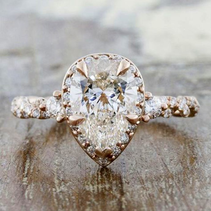 "**Scorpio: Pear** <br><br> You're bridal style is nothing if not sexy, Scorpio. So it makes sense that your ring is a feminine and sultry as you. The best cut? A pear-shaped diamond, of course. <br><br> Image: [Pinterest](https://www.pinterest.com.au/pin/327285097913419981|target=""_blank""
