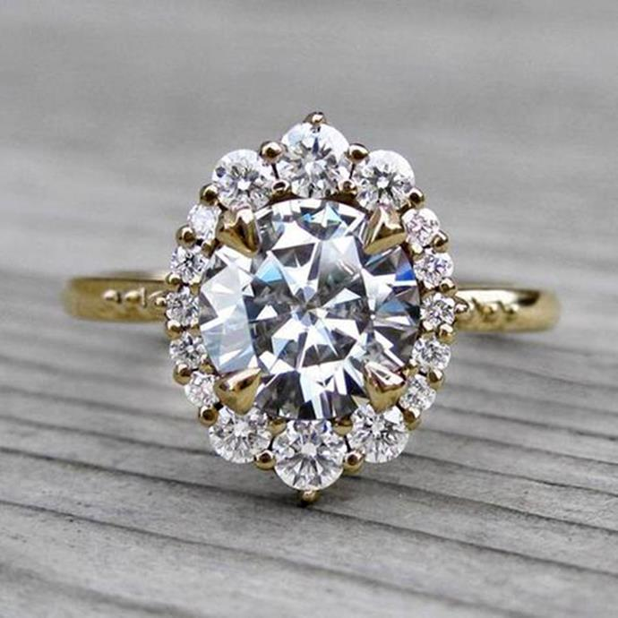 "**Aquarius: Halo** <br><br> Your 'extra' personality means that you're a firm believer in the 'more is more' fashion mantra, Aries. And what's better than one diamond? A diamond surrounded by lots of smaller diamonds, of course. That's why the Halo engagement ring setting is just right for you. <br><br> Image: [Pinterest](https://www.pinterest.com.au/pin/844495367602165199|target=""_blank""