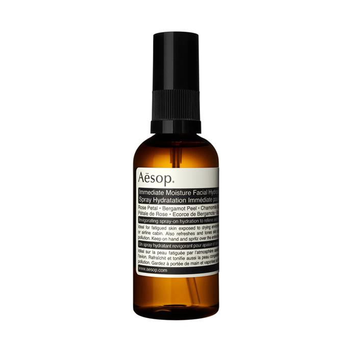 "**TONER:** <br><br> Aesop Immediate Moisture Facial Hydrosol, $25 at [Adore Beauty](https://www.adorebeauty.com.au/aesop/aesop-immediate-moisture-facial-hydrosol-50ml.html|target=""_blank""