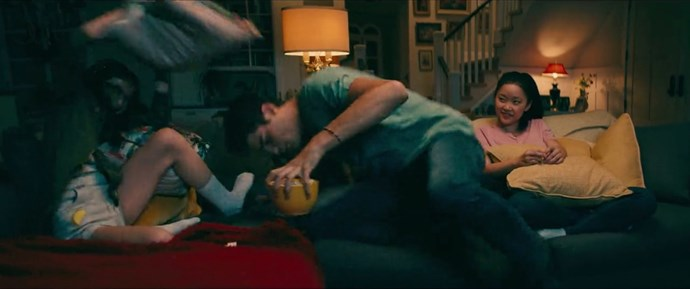 **Noah Centineo improvised Peter's pillow fight scene with Lara Jean and Kitty.** <br><br> In the scene where Peter and Kitty have a pillow fight, Noah moved the popcorn out of the way without being scripted, because he's kind and considerate like that.