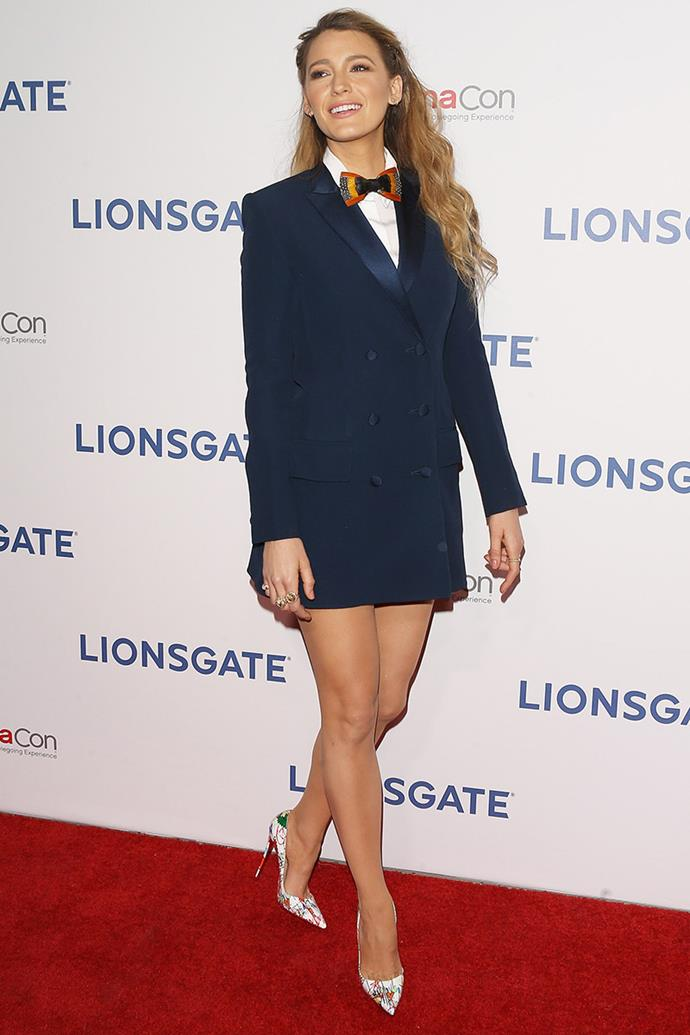 Tuxedo jackets can make mini-dresses too, as Lively proved in this Sonia Rykiel number.