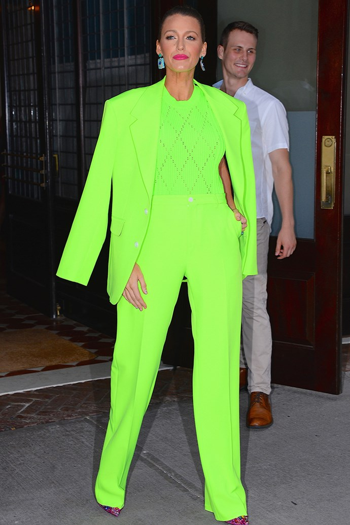 """A delightfully extra [Versace](https://www.elle.com.au/fashion/blake-lively-green-suit-18308