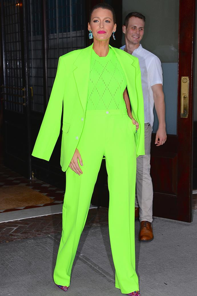 "A delightfully extra [Versace](https://www.elle.com.au/fashion/blake-lively-green-suit-18308|target=""_blank"") tuxedo saw Blake doing neon the right way."