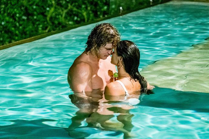 **That kiss.** <Br><br> You simply can't fake passion, and both Hockley and Cummins had passion in droves on their single date. Seeing as the couple managed to make 'foot golf' romantic, we knew things were destined to heat up during the second half of their date. As the couple slipped into the pool and got a little closer, the chemistry went off the charts. Then, the kiss to end all kisses occurred and we knew for sure that what Hockley and The Honey Badger have is real.